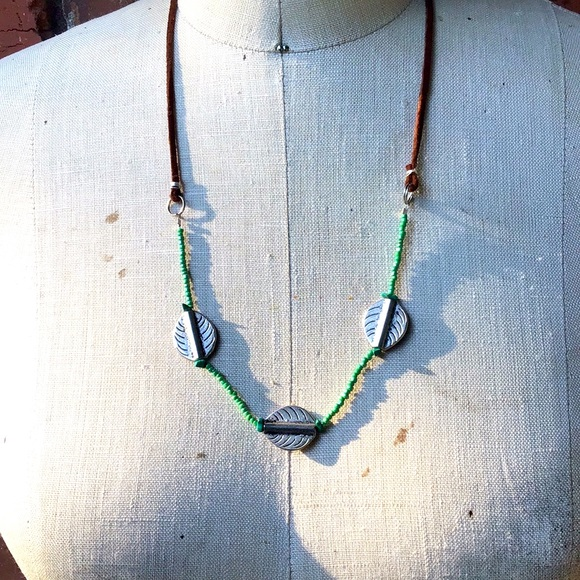 Green Trio Leather Leaf Handmade Necklace